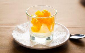 Helado a la mode de mango