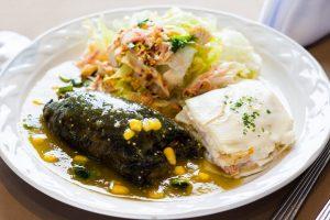 Chile poblano relleno de carne, queso o pollo en salsa poblana y ensalada residence